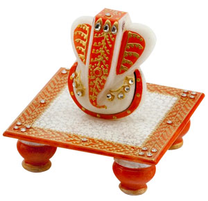 Gold Embossed Lord Ganesha with Chowki
