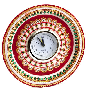 Gold Embossed Kundan Work Alarm Clock