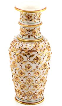 Vases-Gold Embossed Flower Vase with Kundan Work