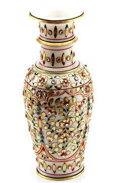Vase with Embossed Gold and Kundan Work