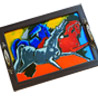 Abstract Canvas Handpainted Running Horses Tray