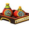 Terracotta Warli Handpainted Salt & Pepper Shaker with Tray