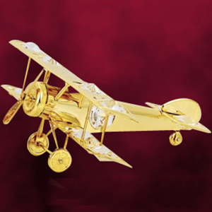 24 Kt Gold Plated Aeroplane Studded with Swarovski Crystals