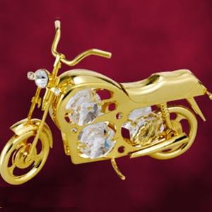 24 Kt Gold Plated Motorcycle Studded with Swarovski Crystals