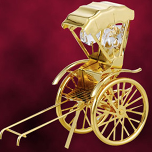 24 Kt Gold Plated Rickshaw Studded with Swarovski Crystals
