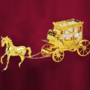 24 Kt Gold Plated Horse with Carriage Studded with Swarovski Crystals