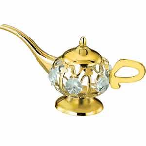 24K Gold Plated Aladdin Lamp Studded with Swarovski Crystals