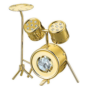 24K Gold Plated Drum Studded with Swarovski Crystals