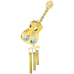 Wind Chimes & Stands-24K Gold Plated Wind Chime Guitar Studded with Swarovski Crystals