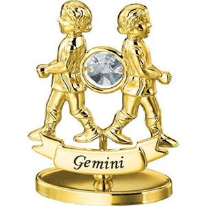 24K Gold Plated Gemini Zodiac Sign Studded with Swarovski Crystals