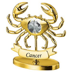 Zodiac Sign-24K Gold Plated Cancer Zodiac Sign Studded with Swarovski Crystals
