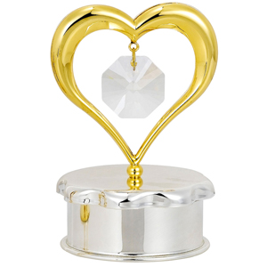 Love & Greeting-24 Kt Gold Plated Gold Heart Trinket Box Studded with Swarovski Crystals
