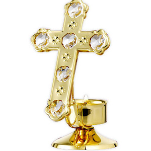 Christmas Series-24 Kt Gold Plated Cross with Stand Studded with Swarovski Crystals