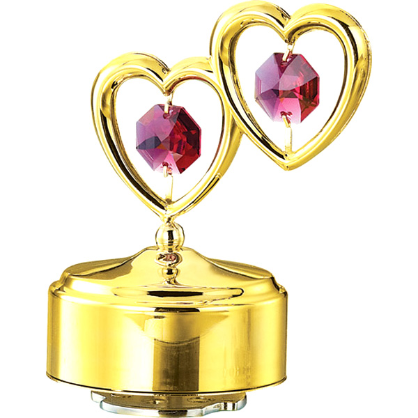 24K Gold Plated Musical Base with Double Heart