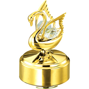 Table Decoration-24K Gold Plated Musical Base with Swan (Small)