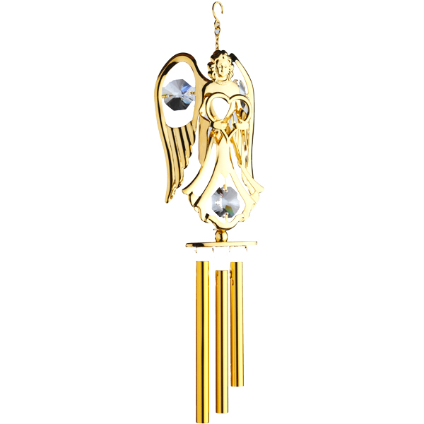 24K Gold Plated Wind Chime Angel with Heart