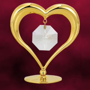 Love & Greeting-24 Kt Gold Plated Heart Studded with Swarovski Crystals