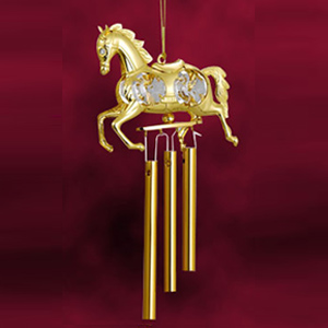 24 Kt Gold Plated Wind Chime Horse Studded with Swarovski Crystals