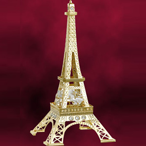 24 Kt Gold Plated Eiffel Tower Studded with Swarovski Crystals
