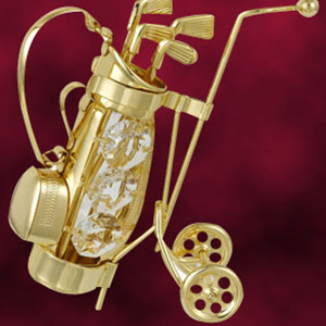 Table Decoration-24 Kt Gold Plated Golf Bag Studded with Swarovski Crystals