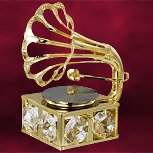 24 Kt Gold Plated Gramophone Studded with Swarovski Crystals
