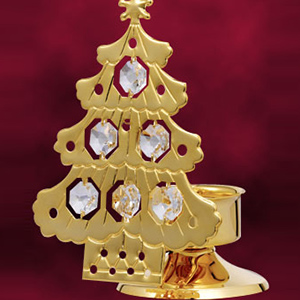 24 Kt Gold Plated Christmas Tree Candle Stand Studded with Swarovski Crystals