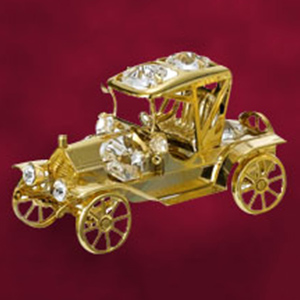 24 Kt Gold Plated Vintage Car Premium Studded with Swarovski Crystals