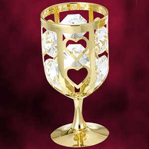 Table Decoration-24 Kt Gold Plated Wine Glass Studded with Swarovski Crystals