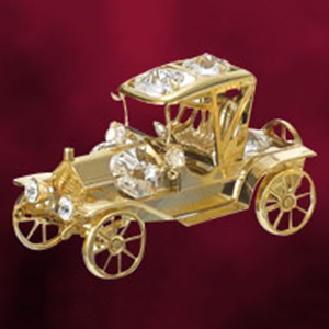 24 Kt Gold Plated Vintage Car Studded with Swarovski Crystals