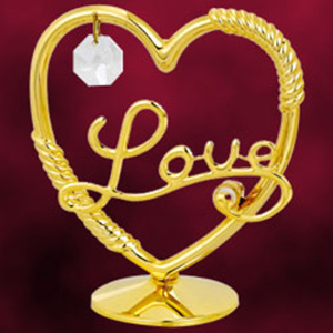 24 Kt Gold Plated Heart Studded with Swarovski Crystals