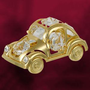 Automobiles-24 Kt Gold Plated Beetle Car Studded with Swarovski Crystals
