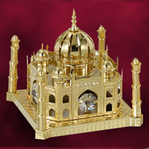 Table Decoration-24 Kt Gold Plated Taj Mahal Studded with Swarovski Crystals