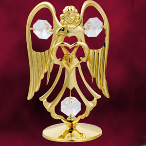 24 Kt Gold Plated Angel with Heart Studded with Swarovski Crystals