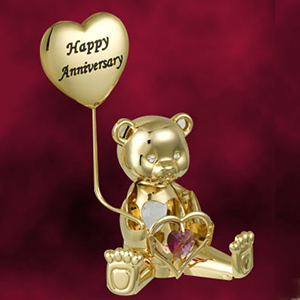 24 Kt Gold Plated Greeting Bear Studded with Swarovski Crystals