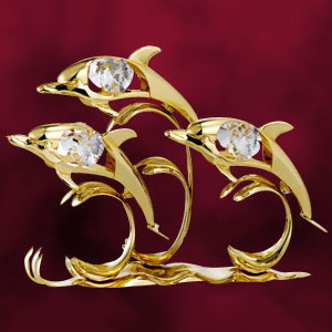 24 Kt Gold Plated Dolphin Triple Studded with Swarovski Crystals