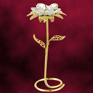 Flowers & Baskets-24 Kt Gold Plated Sun Flower Studded with Swarovski Crystals
