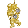 24kt Gold Plated Santa Hanging Studded with Swarovski Crystals