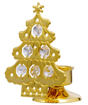 24kt Gold Plated Christmas Tree Candle Stand Studded with Swarovski Crystals
