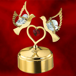 24K Gold Plated Double Dove and Heart Studded with Swarovski Crystals