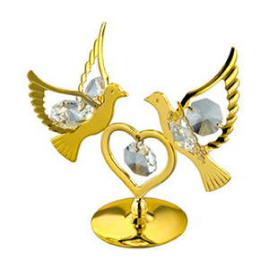 24K Gold Plated Double Dove with Heart Studded with Swarovski Crystals