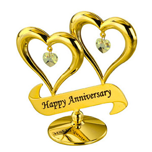 24K Gold Plated Double Heart Happy Anniversary Studded with Swarovski Crystals