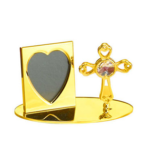 Gift Items-24K Gold Plated Photo Frame with Cross Studded with Swarovski Crystals