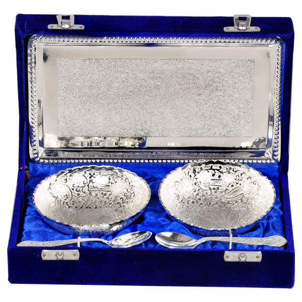 Silver Plated Bowl & Spoon - Set of 2