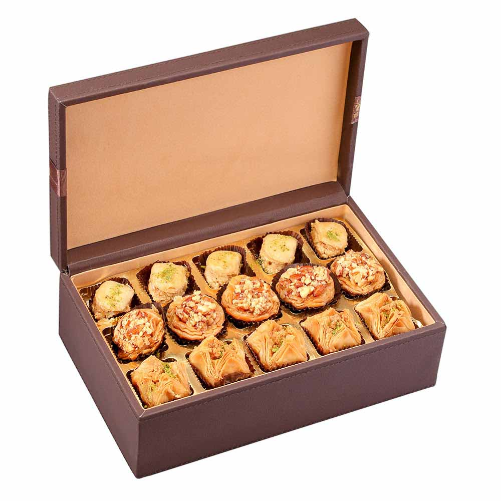 Brown Leather Box with Baklava