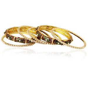 Rein Sparkling Stones Bangle Set - 6 pieces