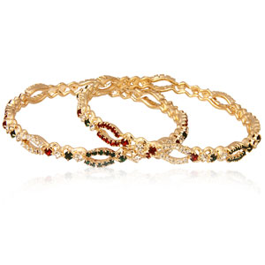 Rein Gold Plated Sparkling Stones Bangle Set - 2 pieces