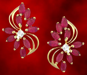 Facetz Diamond & Ruby Earrings