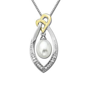 Facetzinspire Diamond & Pearl Gold Heart Pendant