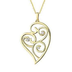 Facetzinspire Diamond Gold Heart Pendant