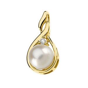Facetzinspire Diamond & Pearl Gold Pendant